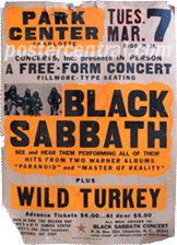 Black Sabbath plus Wild Turkey concert poster