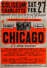 Chicago at the Charlotte Coliseum concert poster