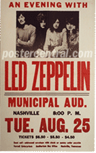Led Zeppelin At Nashville Municipal Aud. concert poster