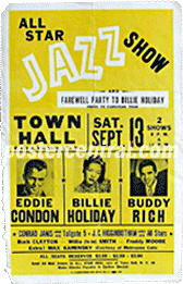 billie hollida\y all star jazz show concert poster
