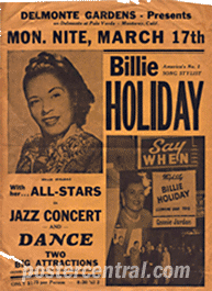 Billie Holiday at delmonte gardens concert poster