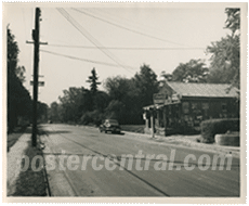 vintage photo of old store and road
