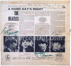 A Hard Day's Night Beatles album with Beatles autographs