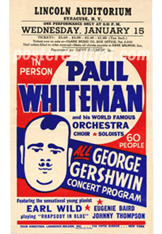 Paul Whiteman at Lincoln Auditorium handbill
