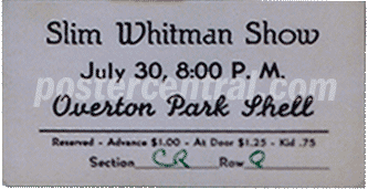 Slim Whitman show ticket