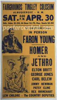 Faron Young, Homer and Jethro, Patsy Cline concert poster